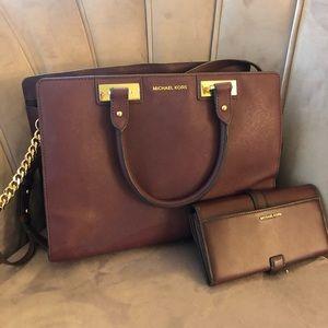 Maroon Michael Kors bag and Wallet